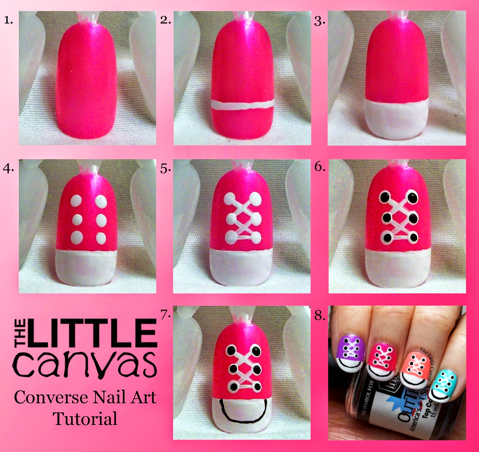 Pink Converse Nail Art Tutorial ~ Calgary Edmonton Toronto Red Deer  #C5064E