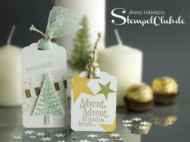 Stampinup, Advent, Geschenkanhänger, Tags
