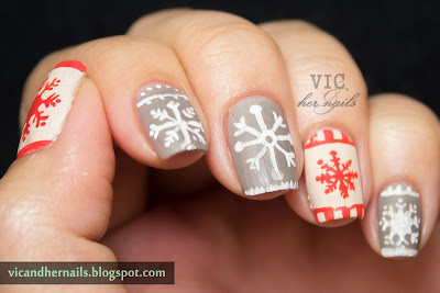 vic and her nails december nail  theme 1 snowflakes