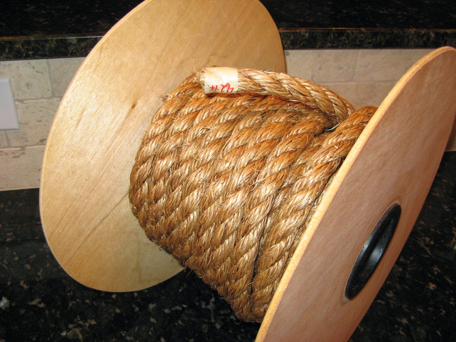 "DIY Spool Table - 3/4"" manilla rope"