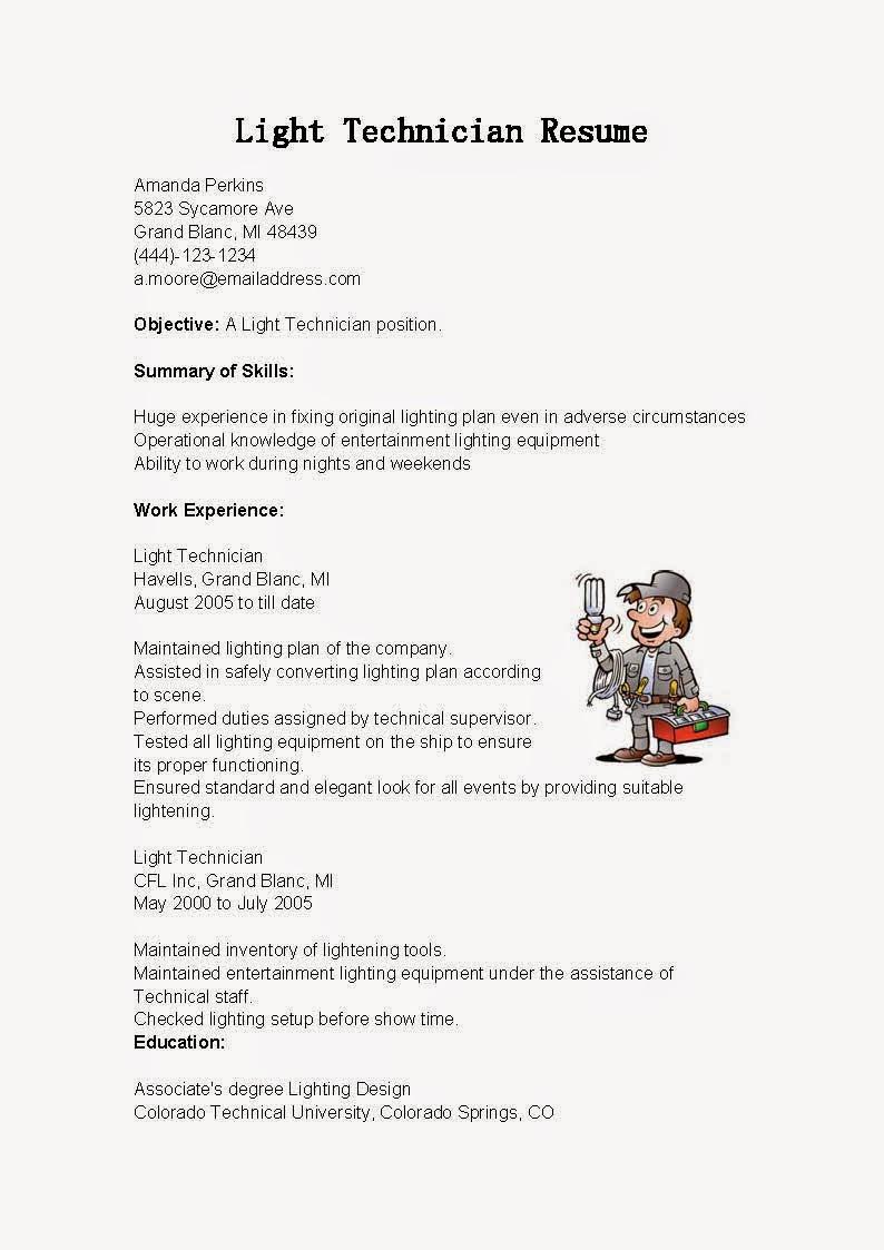 resume samples  light technician resume sample