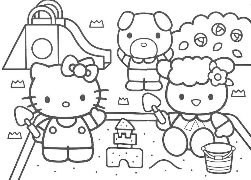 Hello Kitty park Coloring Pages title=