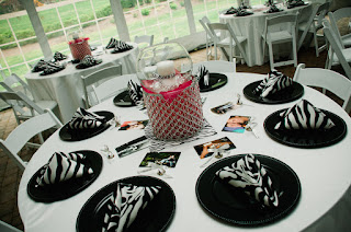 Table setting of black, white and pink - Posted by Patricia Stimac, Seattle Wedding Officiant