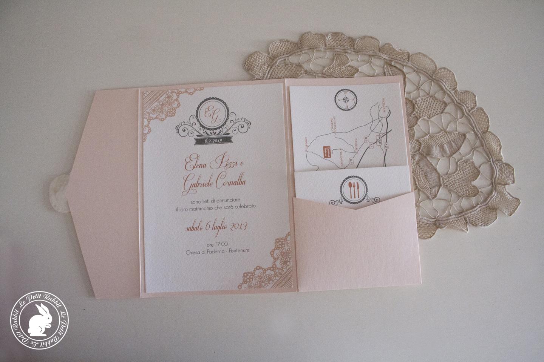 Molto Partecipazione matrimonio pizzo rosa OI65