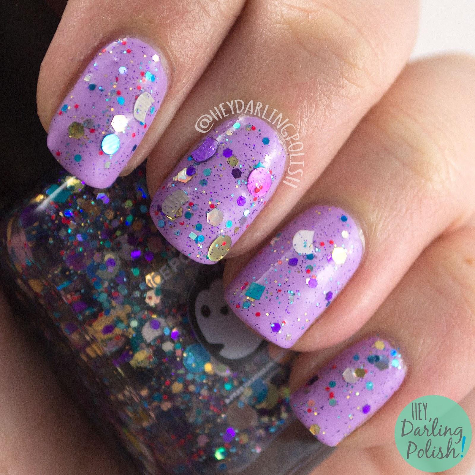 glitter, cats, meow-di gras, mardi gras, nails, nail polish, indie polish, indie nail polish, hey darling polish, ice polish, swatches