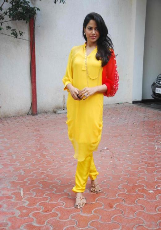 Sameera Reddy in Yellow Collared Designer Suit for Summer Wear @ Shilpa Shetty Home