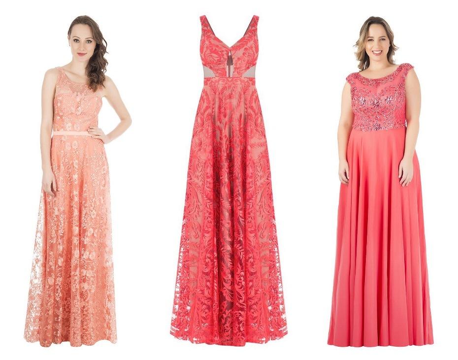 Vestidos de festa longo na cor salmao