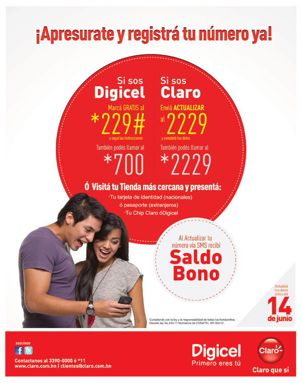digicel claro datos actualizar honduras
