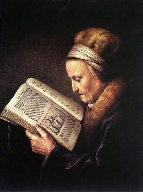 Vieille femme lisant de Rembrandt, 1655