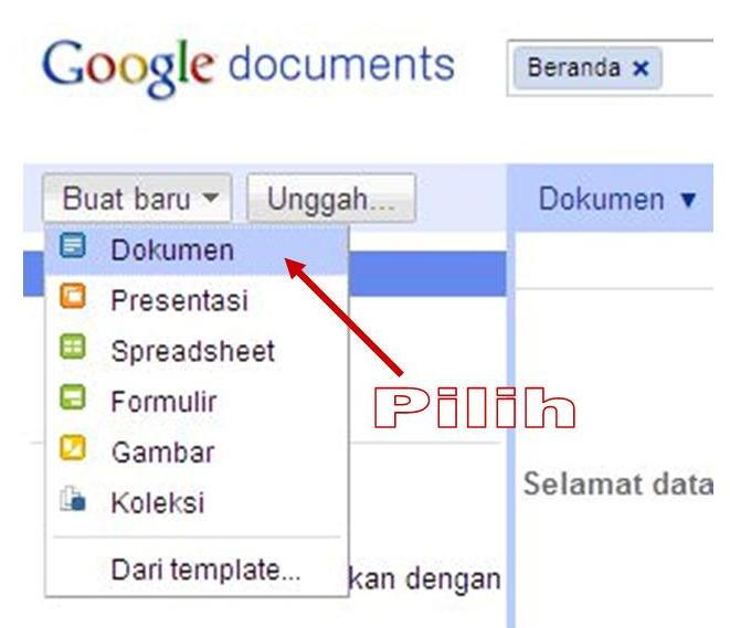 Berikut ini adalah contoh dalam bahasa indonesia, untuk Google Docs
