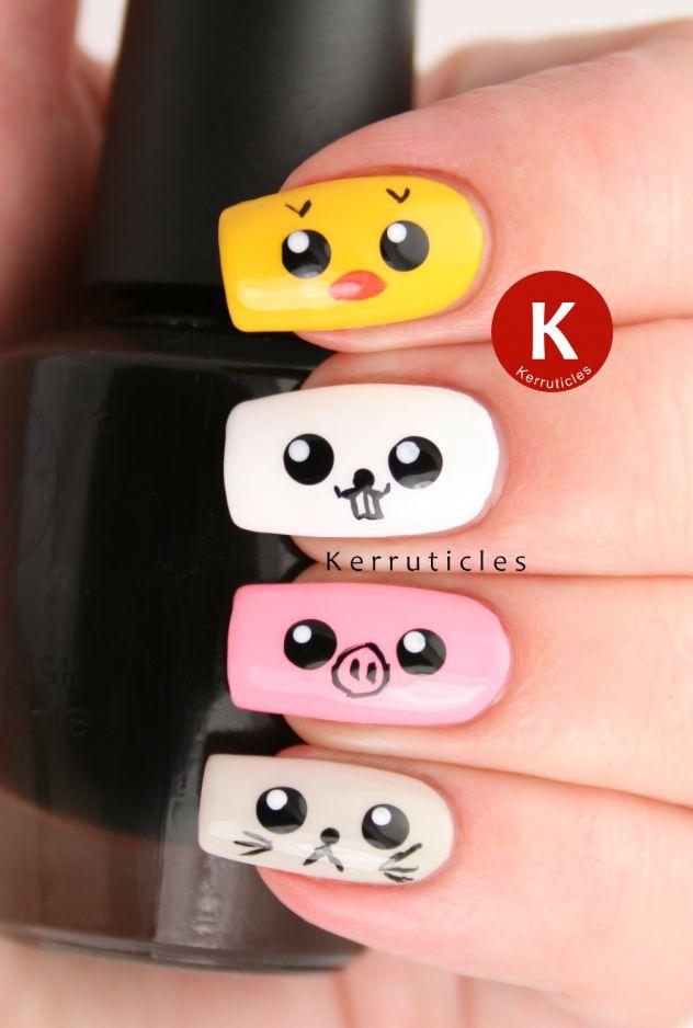 10 diseños kawaii para uñas faciles | Un Mundo de Manualidades