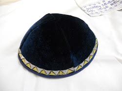 KIPPAH Terciopelo Azul Navy Borde Dorado