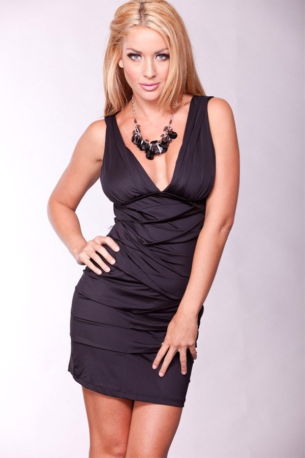 This Adorable Dress Features Pleated Surface, V Neckline, Tank Sleeves
