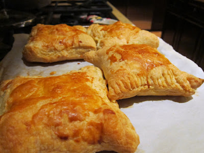 Chicken and Gruyere Turnovers made with puff pastry