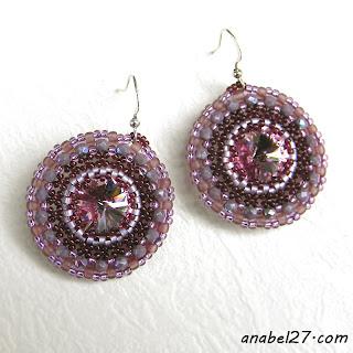 Сиреневые серьги с кристаллами Swarovski - 160 / 365