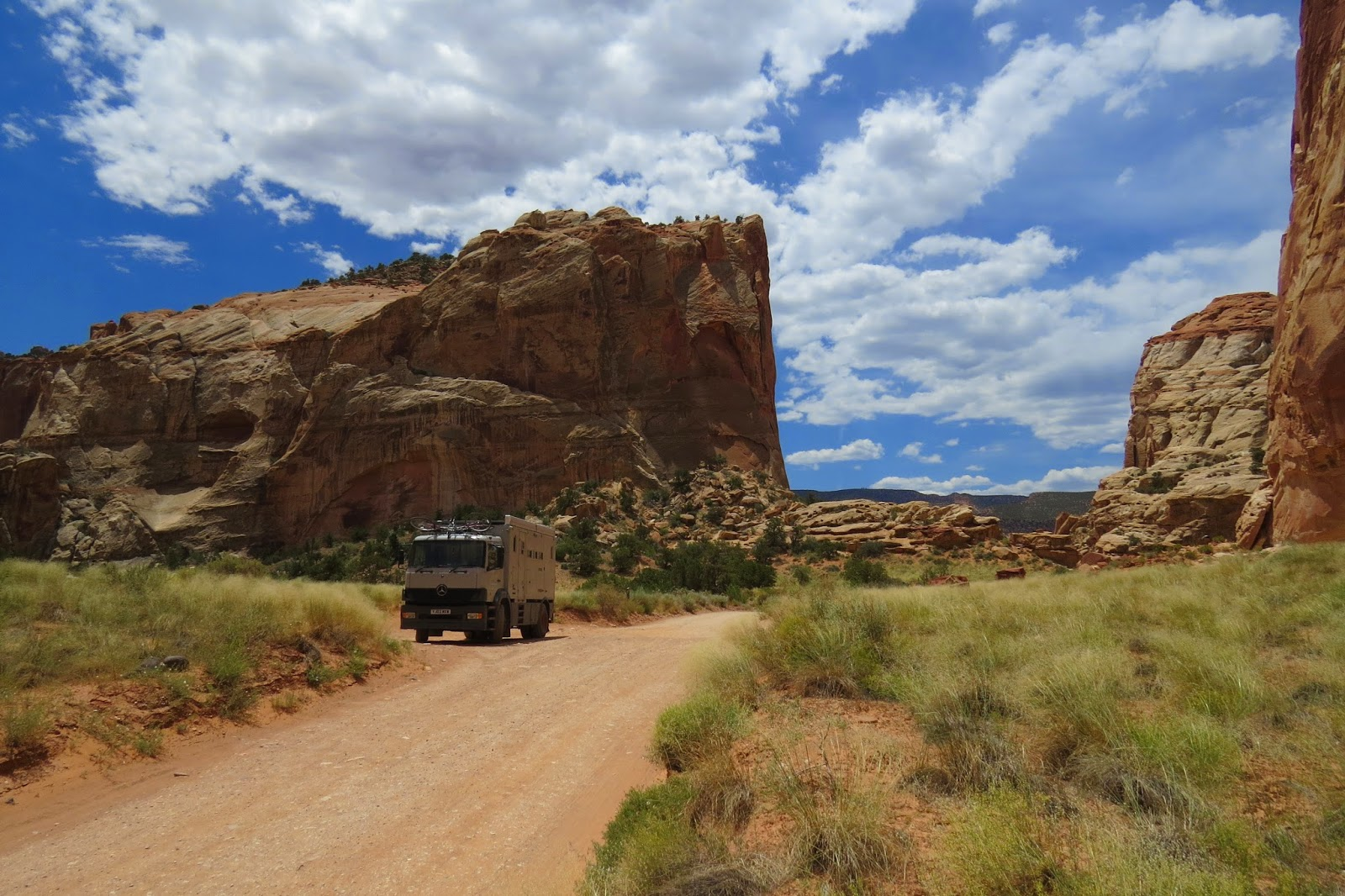 Jim the Mercedes 1823 overland motorhome parked off Grand Wash Road in Capitol Reef in Utah