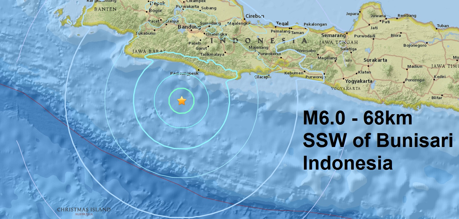 A mag 6.0 - 68km SSW of Bunisari, Indonesia is the sixth major quake of April in six day's!