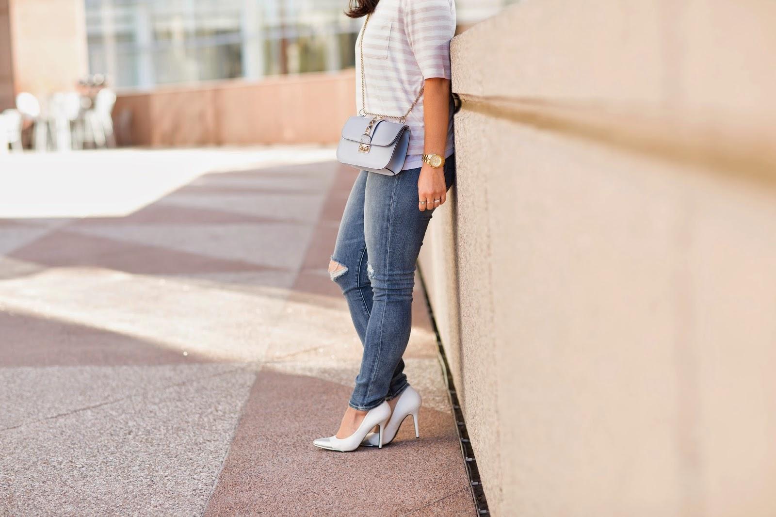 simplyxclassic, gap shirt, striped shirt, pastels, pink striped shirt, valentino shoulder bag, valentino bag, orange county, blogger, fashion blogger, segerstrom