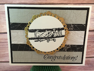 This masculine card uses Stampin' Up!'s Sale a Bration stamp set Sky is the Limit - available only through Feb 15, 2016, and only FREE with a $50 purchase!  The card also uses the World Map background stamp, Going Places Designer Paper, and the Metallic Doilies.  www.stampwithjennifer.blogspot.com