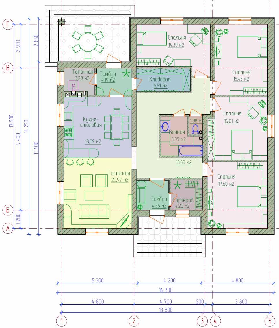 одноэтажные дома проекты фото до 150 м2 с террасой