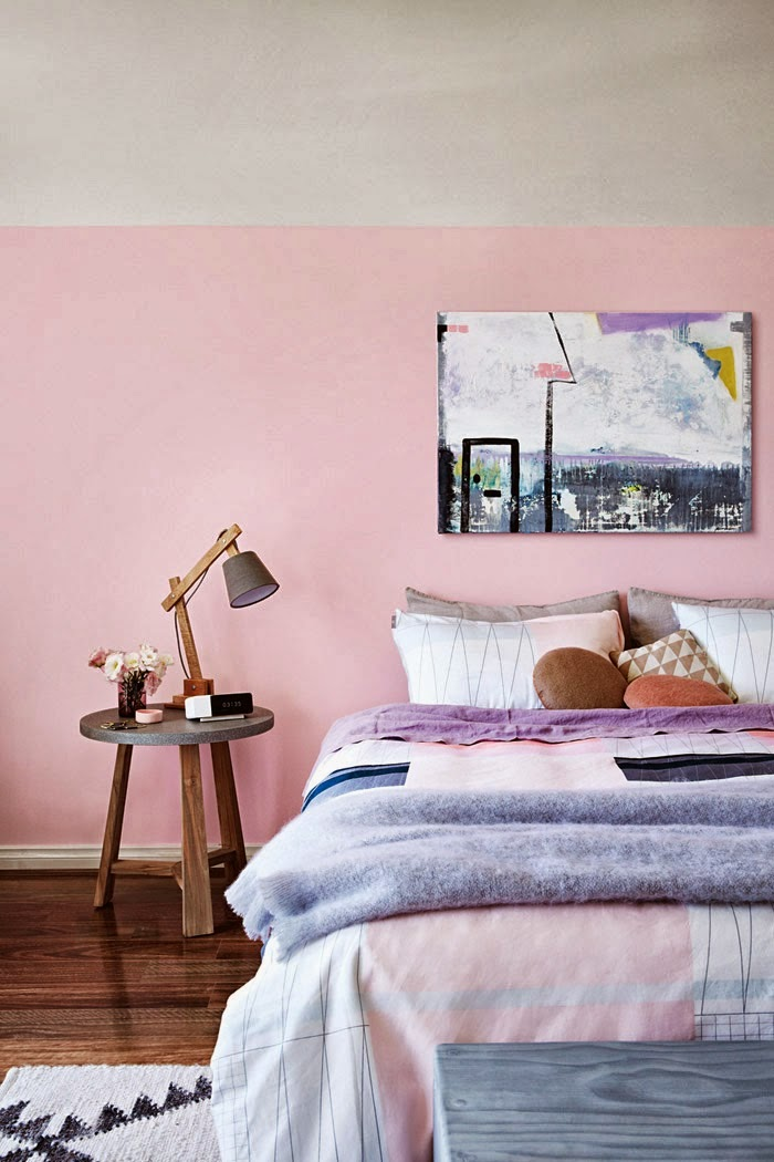 pink bedroom wall with grey accents. styled by Julia Green