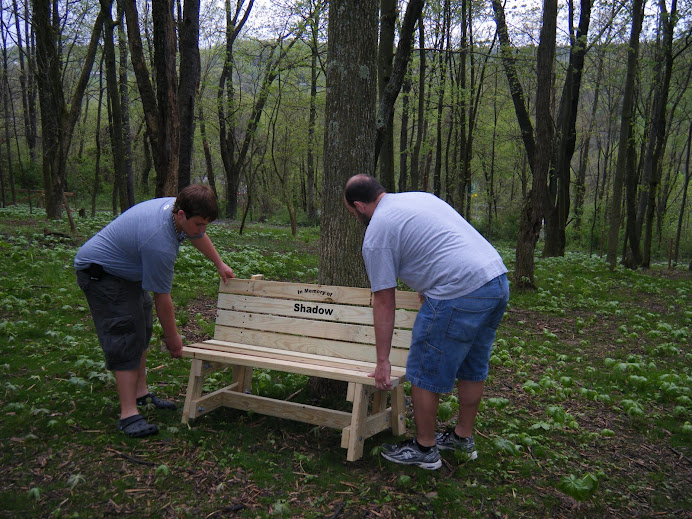 New bench in memory of Shadow - Brett Schrader's senior project