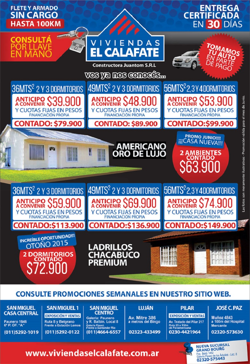 Ofertas 2015 en viviendas el calafate casas prefabricadas for Viviendas premoldeadas precios