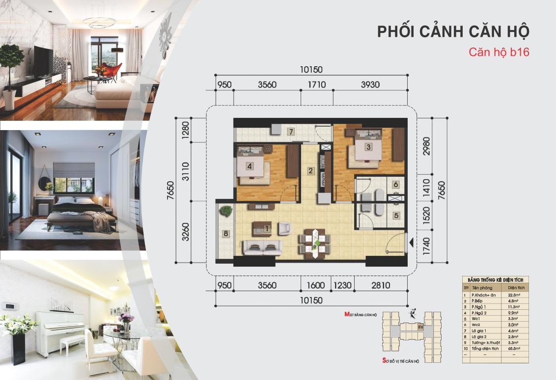 Thiết kế căn hộ b16 - Chung cư Gemek Premium