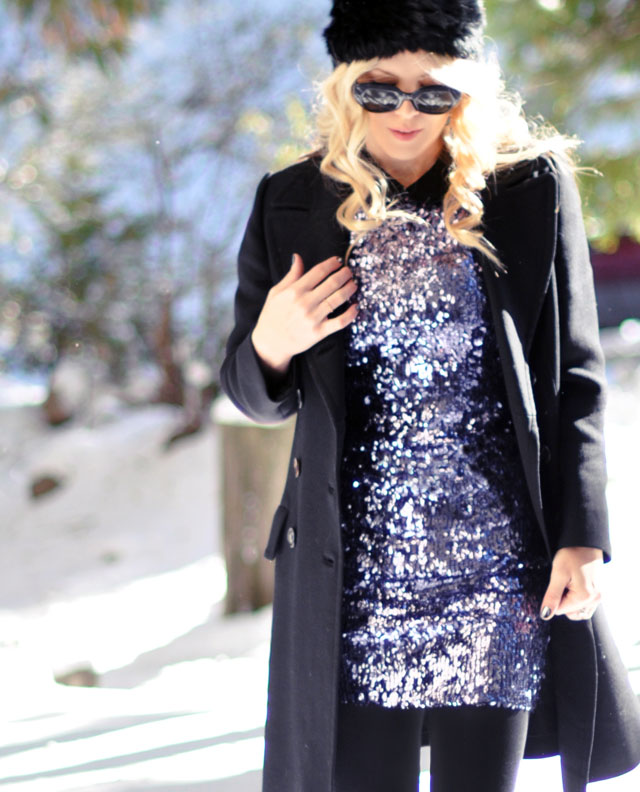 sequined dress, leggings, boots, furry hat