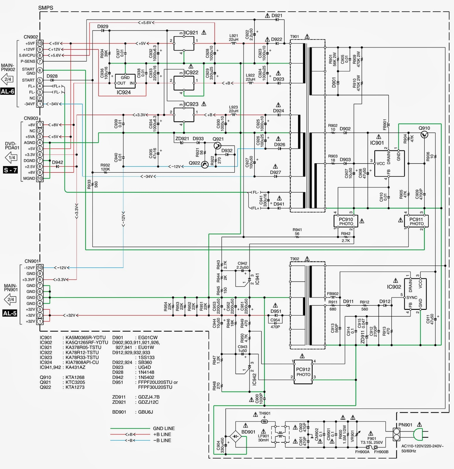KENWOOD - DVR-6300 - SMPS (Power Supply) SCHEMATIC (Circuit Diagram ...