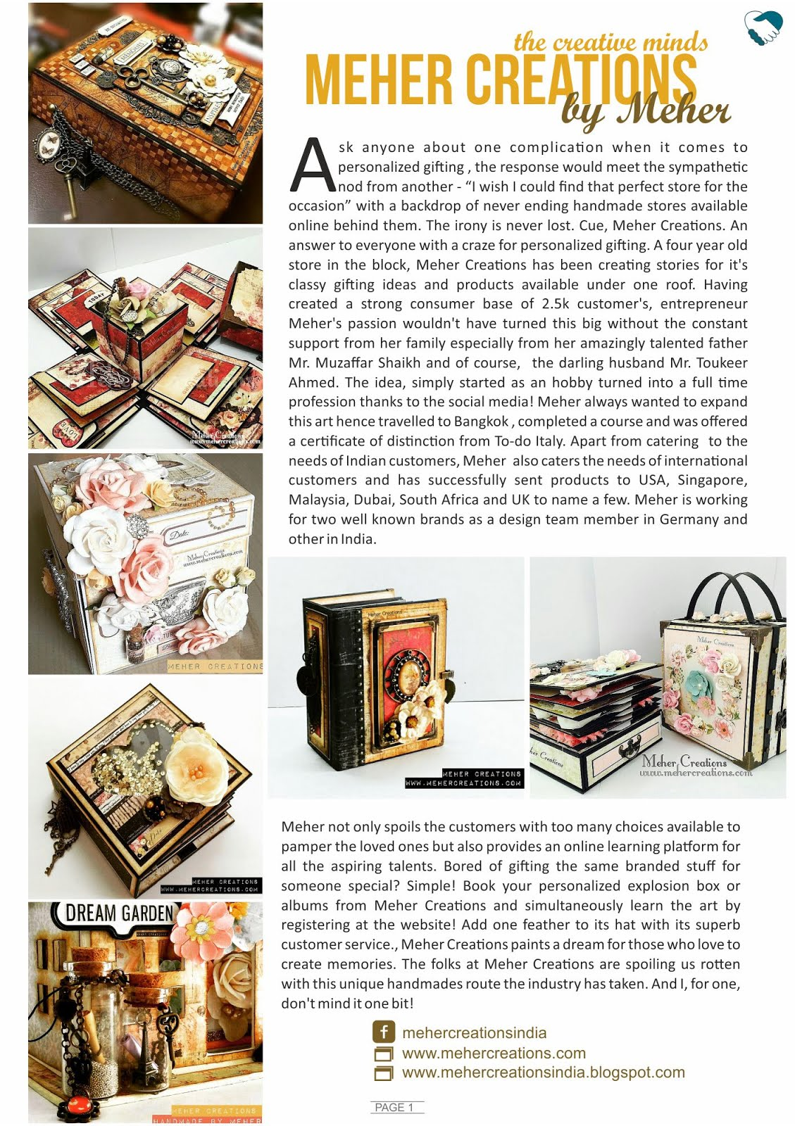 Article about Meher Creations