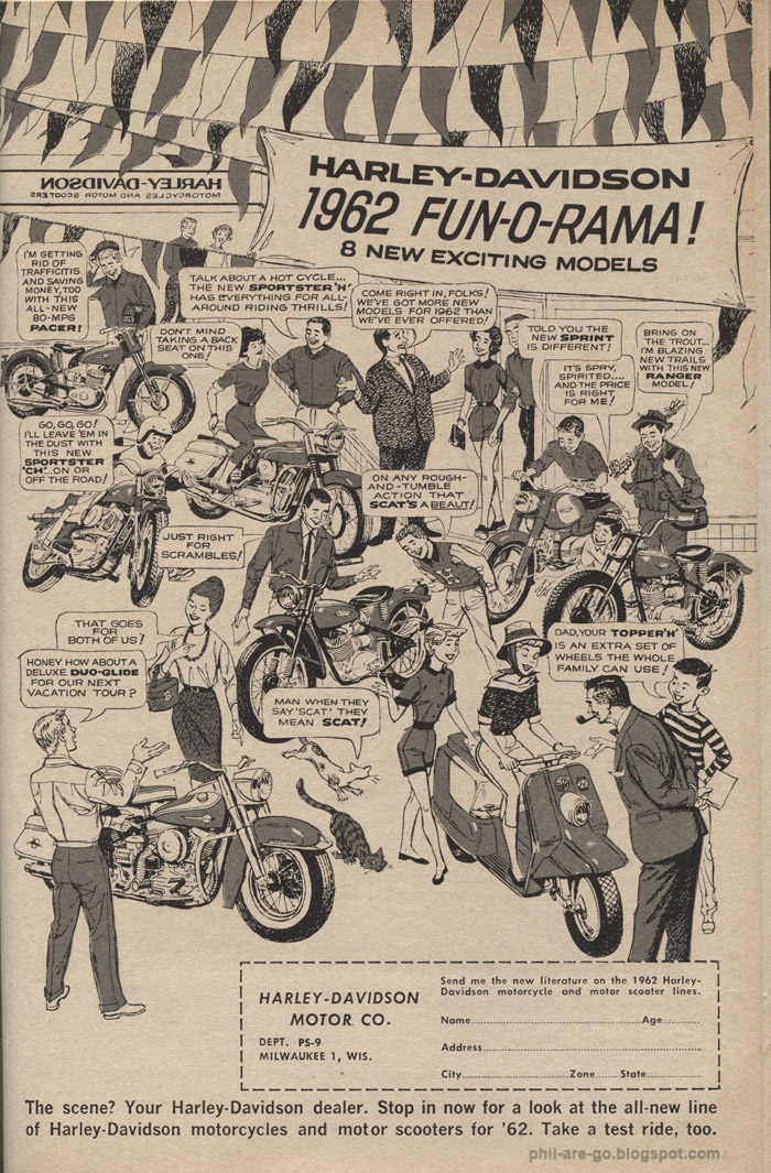 Phil Are Go   Three motorbike ads   Harley  Honda    Cushman