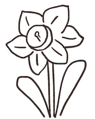 水仙のイラスト(花) モノクロ線画