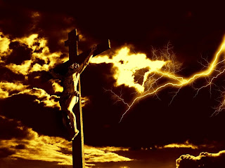 Crucifixion of Jesus on the Cross in the cloud background