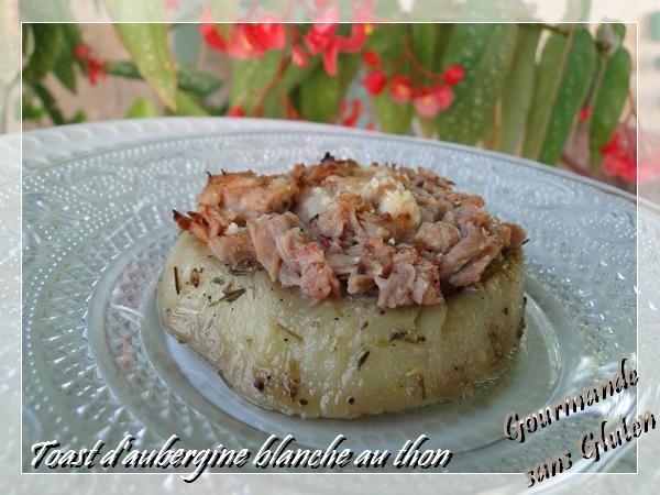 Toast d'aubergine blanche au thon