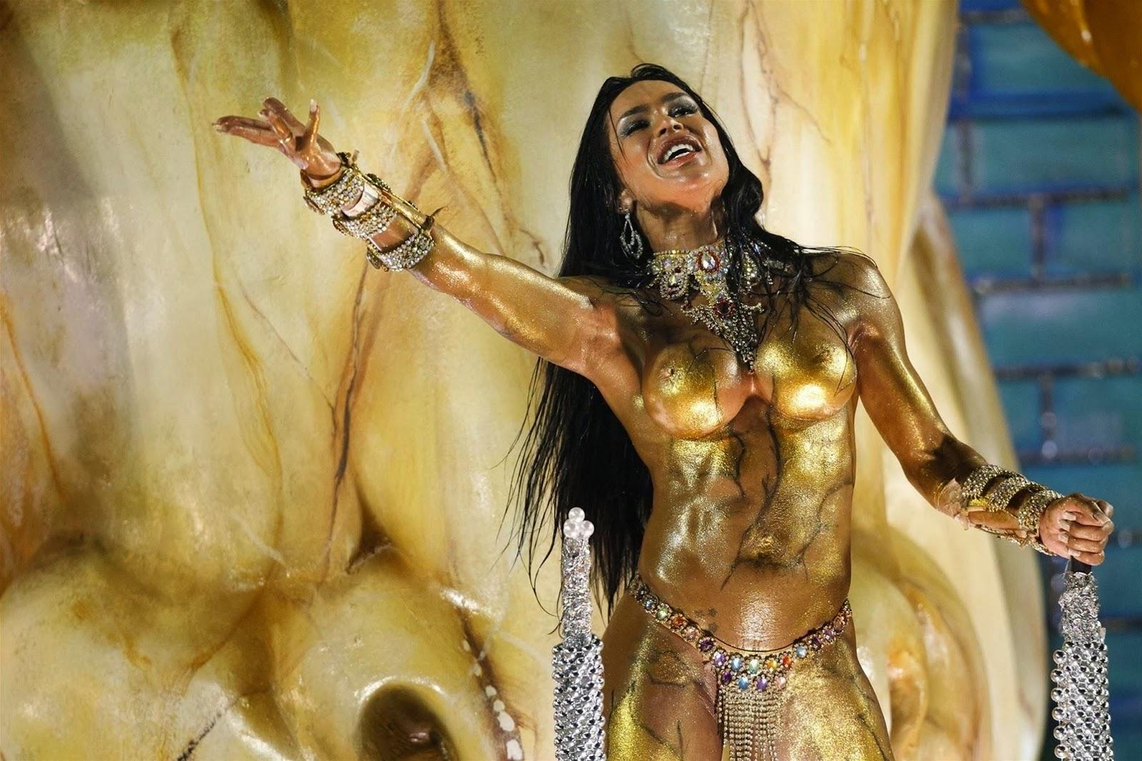 Rio De Janeiro Carnival<br>Tanečnice at the carnival in the Brazilian metropolis of Rio de Janeiro