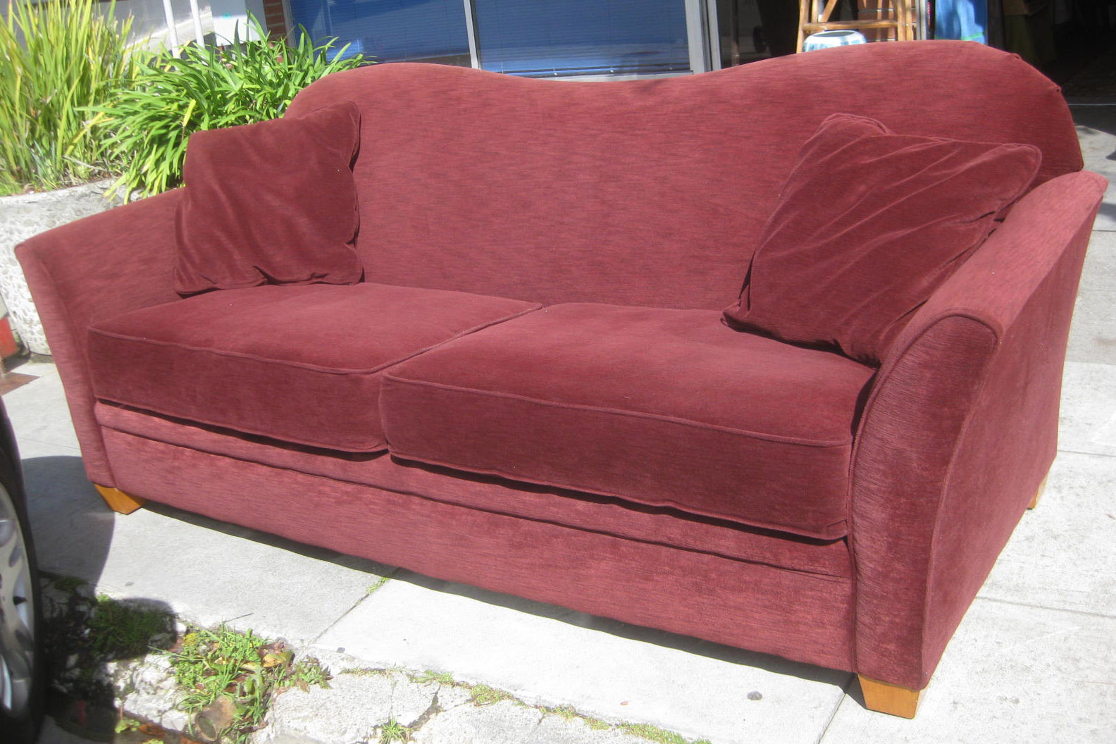 UHURU FURNITURE & COLLECTIBLES SOLD Plush Burgundy Sofa