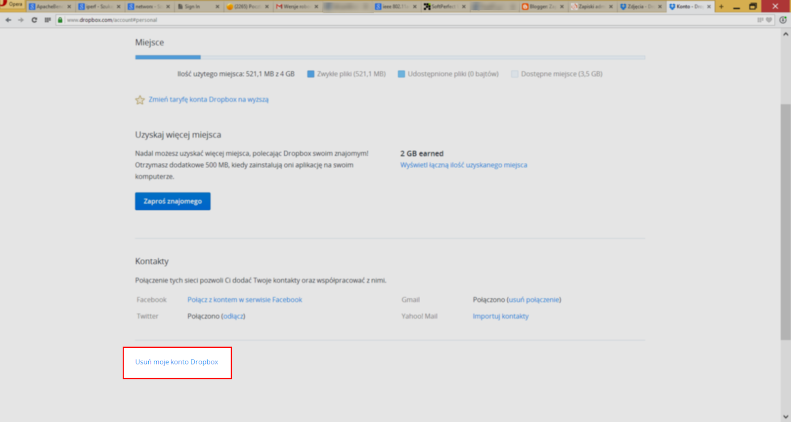Opcja usunięcia konta Dropbox