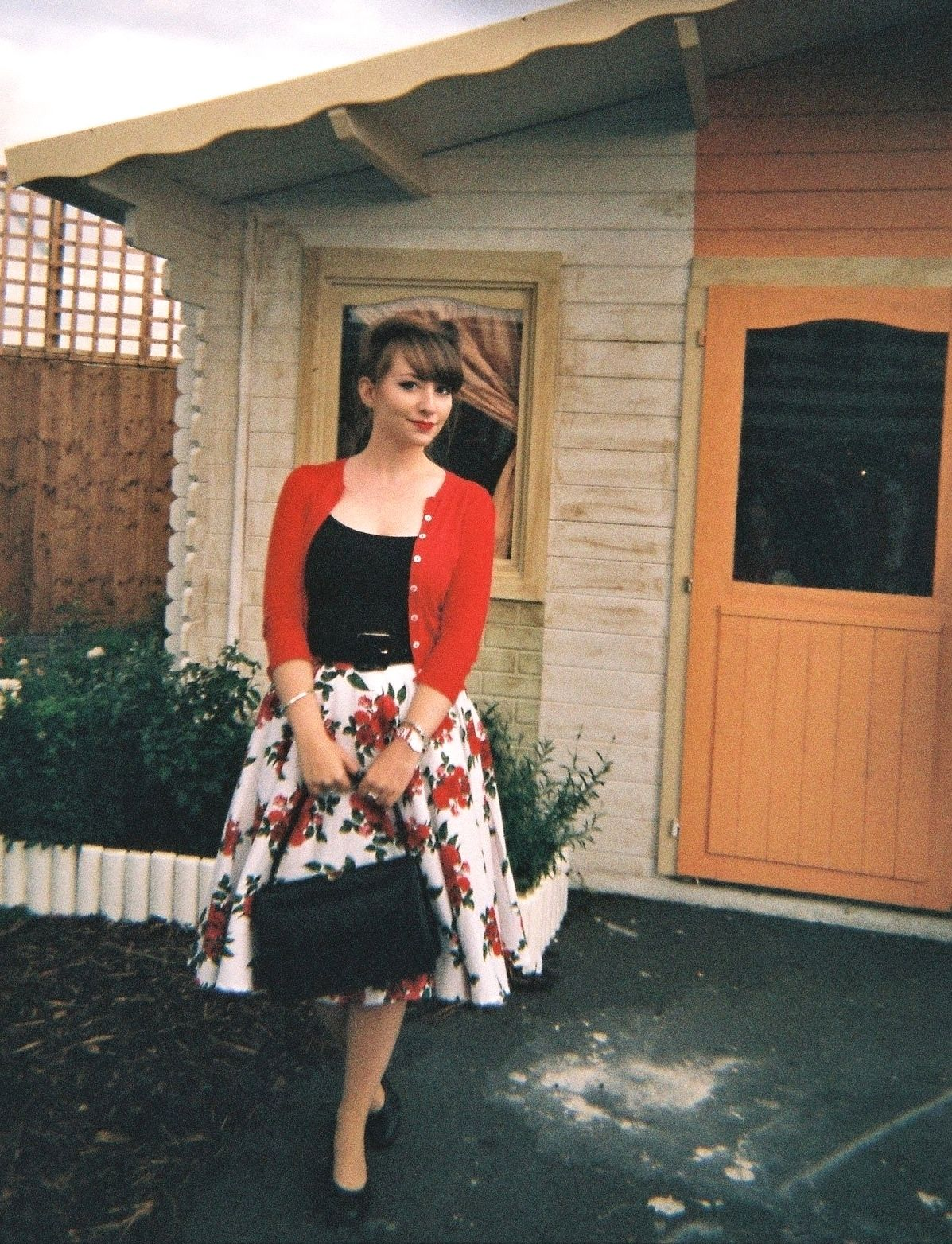 Outside a 50s house at Back to the Future Secret Cinema