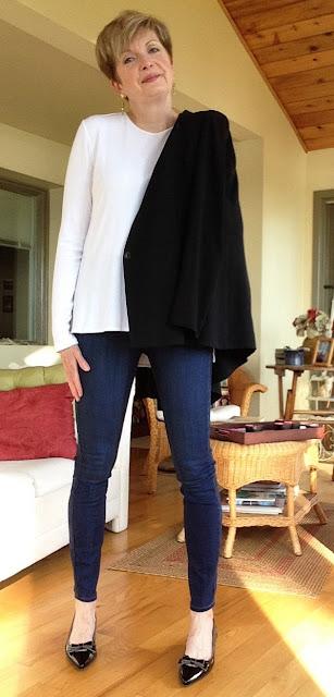Helmut Lang jacket, Vince t-shirt, Paige high rise skinny jeans, Stuart Weitzman shoes