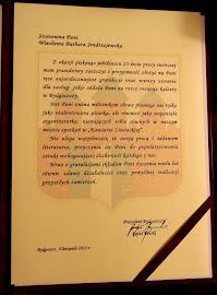 List Prezydenta Bydgoszczy z okazji mojego Jubileuszu- 25 lat pracy literackiej