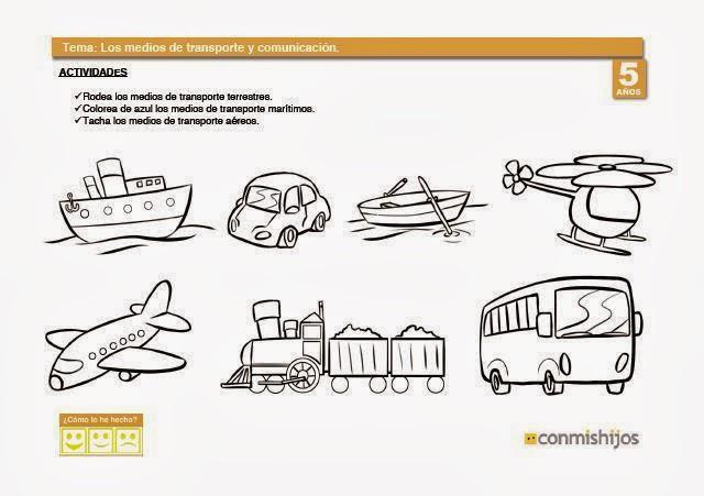 ficha infantil medio transporte: