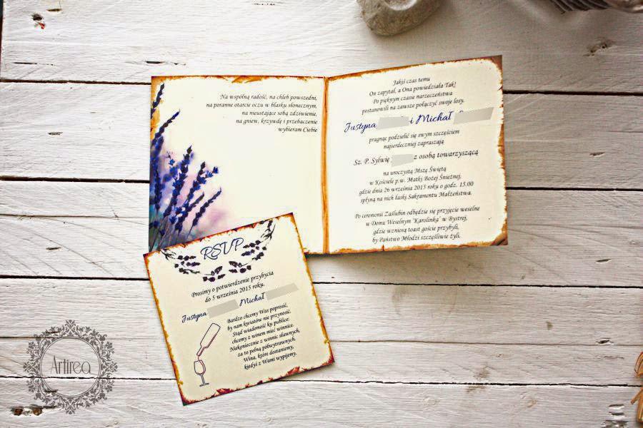 Zaproszenie ślubne lawendowe wrzosowe