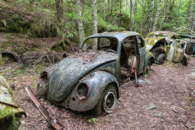 The Vast Car Cemetery in Bastnas, Sweden