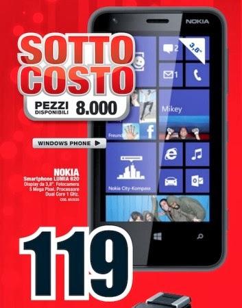 Buon sottocosto con prezzo di 119 euro per il Lumia 620 venduto nel volantino natalizio 2013 di Mediaworld