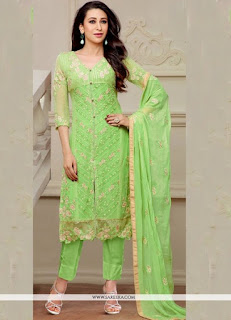Karishma Kapoor Green Resham Work Plus Embroidered Designs Suits / Awesome Light Green Chanderi Style Shalwar Kameez