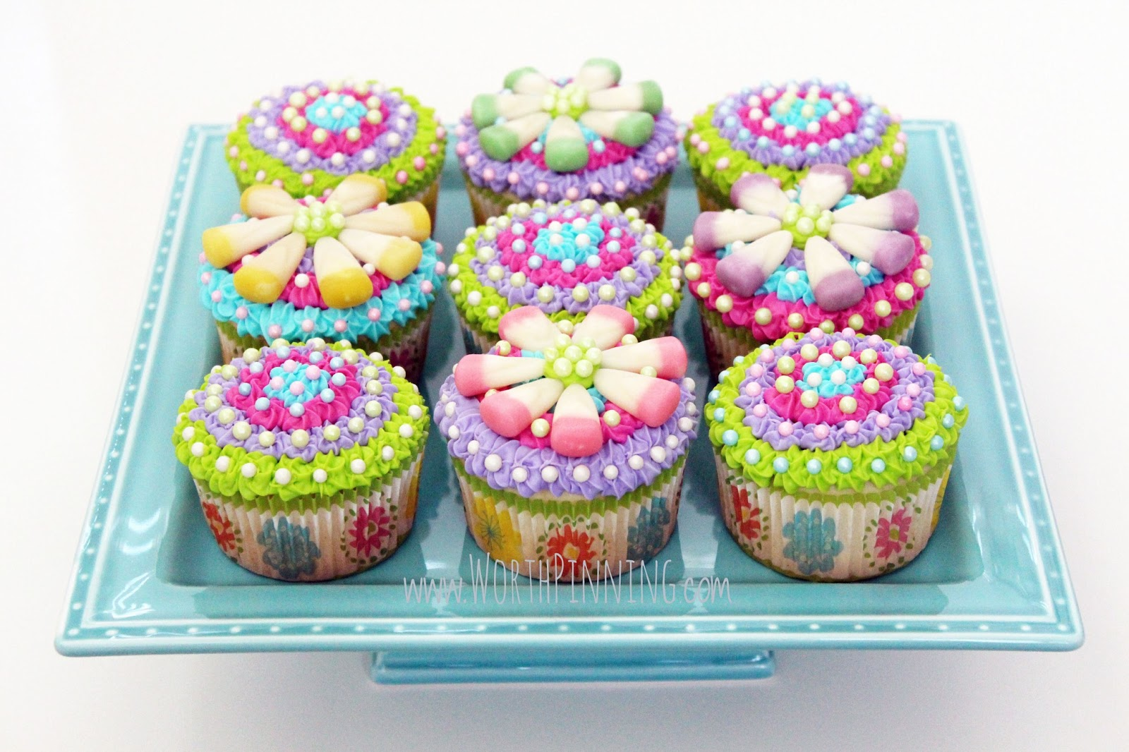 Mothers Day Flower Cupcakes