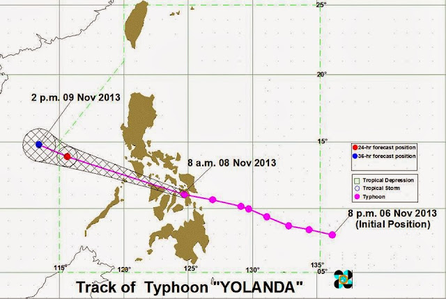 Typhoon Yolanda track november 8, 2013