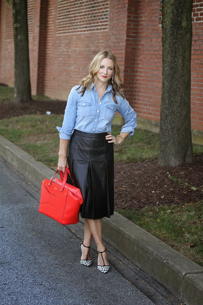 jcrew chambray skirt, halogen leather skirt, aquazurra heels, kate spade bag, jcrew factory earrings