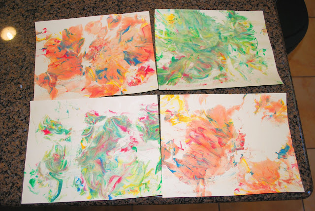 cards made with food coloring and shaving cream